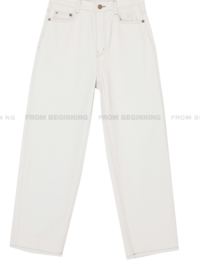 Natural Stitched Cotton Straight Pants
