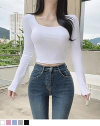Living Square Neck Crop Long Sleeve Tee