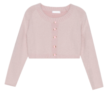 Rose Accent Crop Knit Top