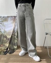 Smoked Gray Faded Wide Denim Trousers