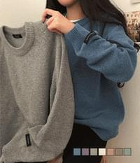 Cash Fine Wool Tack Over Fit Round Neck Knitwear