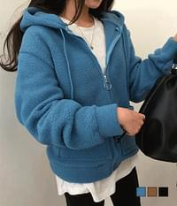 Pocket puffy hooded zip-up
