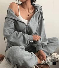 Cropped Hood Zip-Up Jogger Training Two-Piece Set