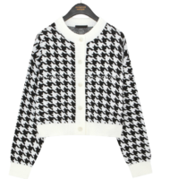 Houndstooth Pattern Knit Cardigan