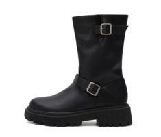 Double Buckle Strap Middle Riding Boots 9171