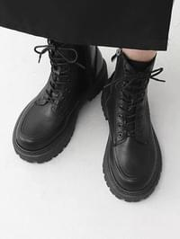 Round Nose Lace-Up Side Zipper Whole Heel Ankle Worker Boots 9164