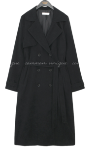 Wide Lapel Double-Breasted Trench Coat