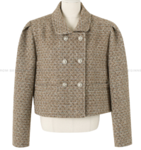 double button puff cropped jacket