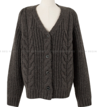 Cable Overfit Wool V-Neck Cardigan
