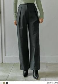 Buttoned Tab Accent High Waist Pants