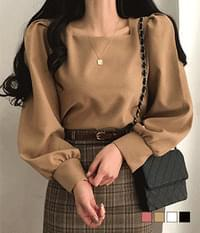 Peach Fleece-lined Puff Square Neck Blouse