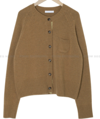 Color Matching Wool Round Knitwear Cardigan
