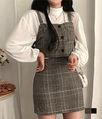 Andy wool check bustier two-piece set
