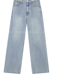 Buttoned Tab Wide Leg Jeans