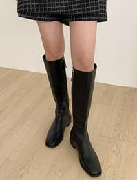 Square Leather Zipper Long Boots
