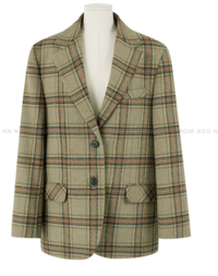 Biscuit Wool Check Boxy Jacket