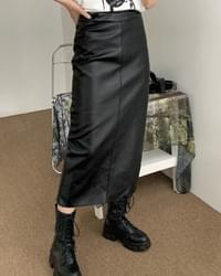 Tio-stitched leather long skirt