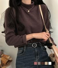 About Ribbed Half Turtleneck Knitwear T-Shirt