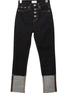 Four Button Raw Roll-Up Slim Straight Jeans
