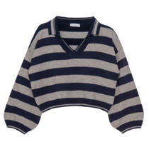 Collared Striped Knit Top