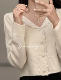 Times lace puff cardigan