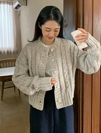 Vintage Cable Round Knitwear Cardigan