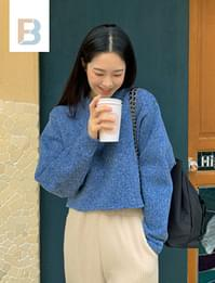 knitted cropped Fleece-lined T-shirt