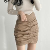 Tulip high waist pleated shirring frill mini skirt 4color with underpants
