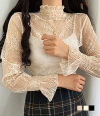 inner lace cuff see-through blouse