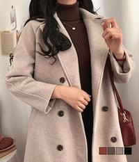 Lara Double Quilted Wool Wool Coat