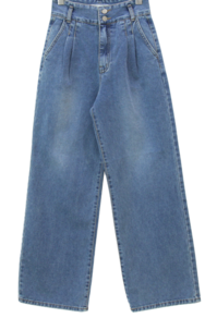 Two-button pintucked Spandex wide jeans