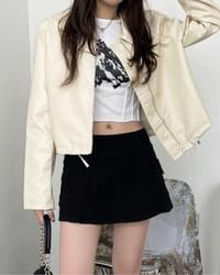 KUTS LEATHER STRING CROP JACKET