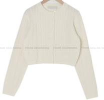 cable wool round cropped cardigan