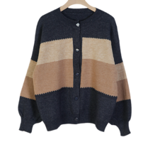 Steamed 3-layer color cardigan